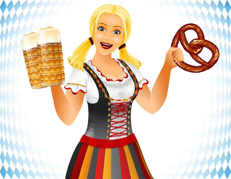 Vacances de l'Allemagne salées par fille en verre de bière de Brezel de bretzel mou d'Oktoberfest illustration libre de droits