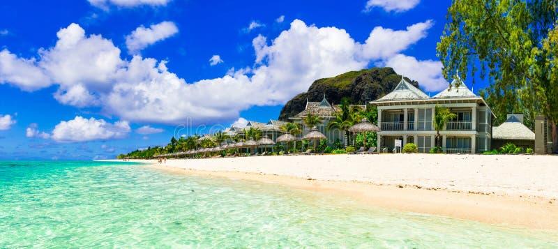 Vacances de luxe dans la station de vacances tropicale Île des Îles Maurice photo stock