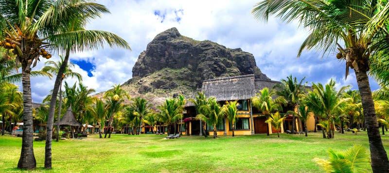 Vacances de luxe dans le paradis tropical, île des Îles Maurice, Le Morn image libre de droits