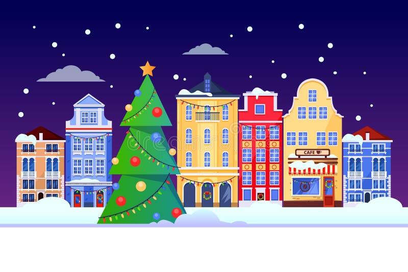 Vacances de nouvelles années de Noël dans la ville de l'Europe Illustration plate de vecteur du paysage urbain avec l'arbre de No illustration libre de droits