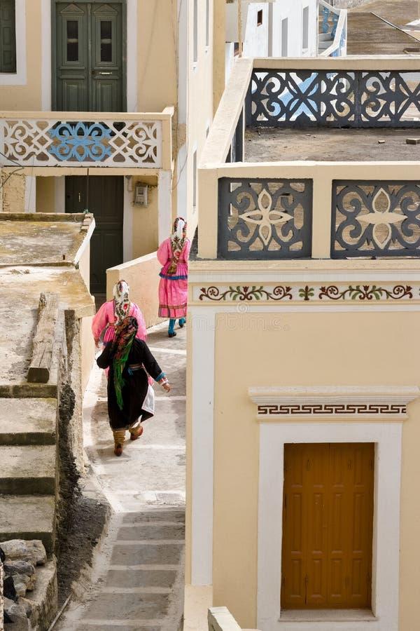 Vacances de Pâques dans le village de l'île d'olympos de Karpathos en Grèce image libre de droits