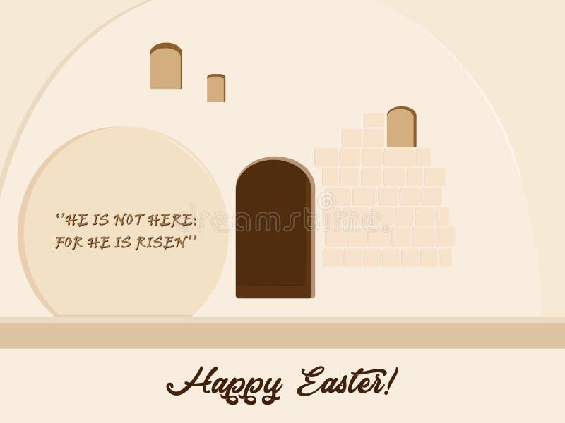 Vacances de Pâques, tombe en pierre vide illustration de vecteur