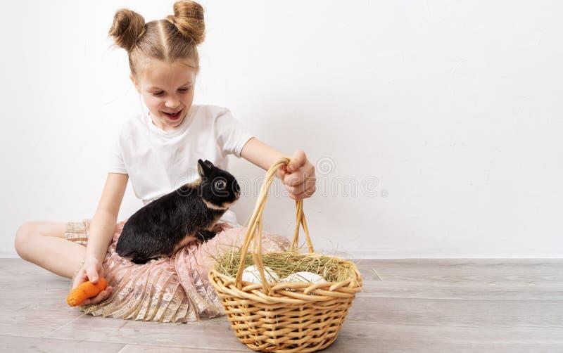 Vacances de Pâques : Une fille tient un petit lapin noir et un panier avec les oeufs blancs images libres de droits