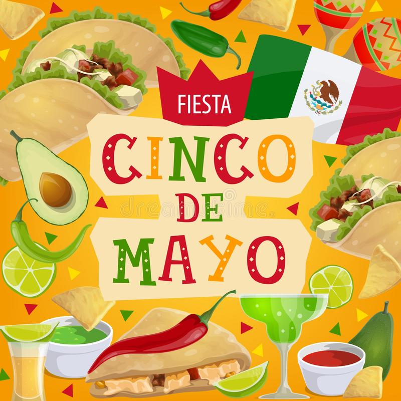 Vacances de partie de fiesta de Cinco de Mayo de Mexicain illustration stock