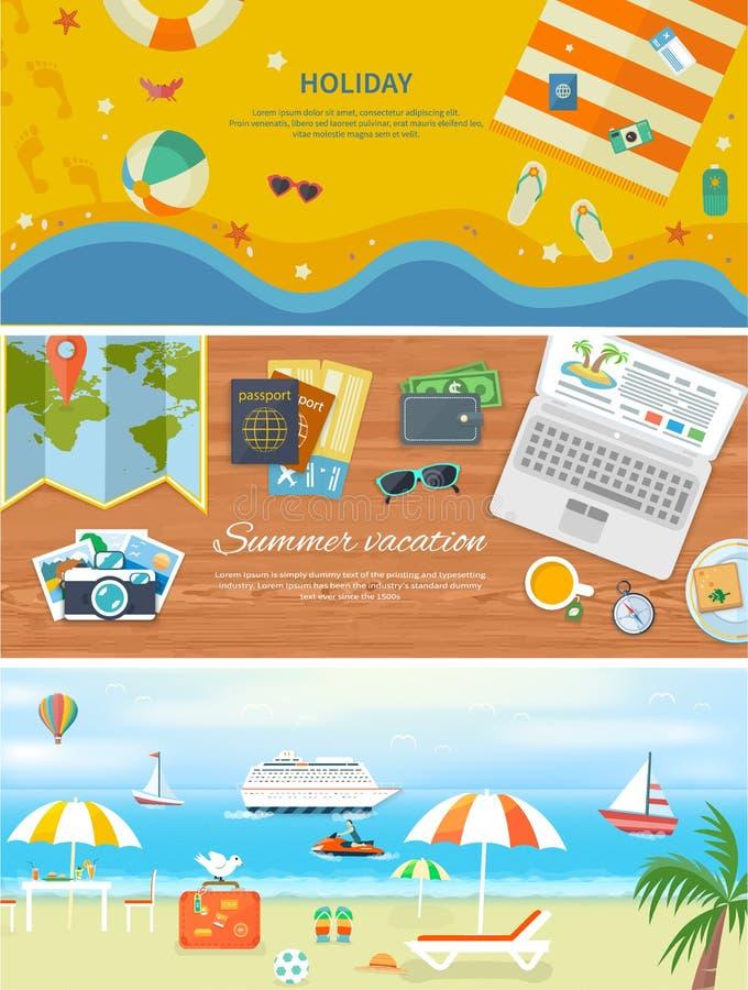 Vacances de plage dans les bannières détaillées de Web de conception plate illustration stock