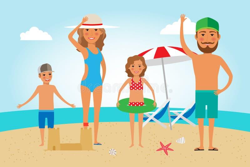 Vacances de plage de famille illustration libre de droits
