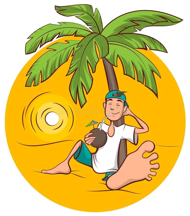 Vacances de plage Le jeune homme s'assied sous le palmier et boit du jus de noix de coco illustration stock