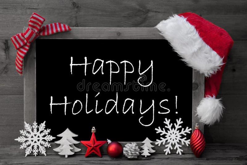 Vacances de Santa Hat Christmas Decoration Happy de tableau noir photo stock