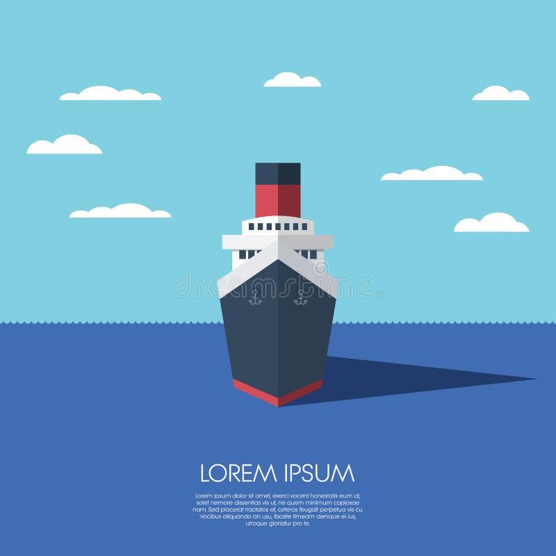 Vacances de vacances de bateau de croisière Conception plate moderne illustration de vecteur