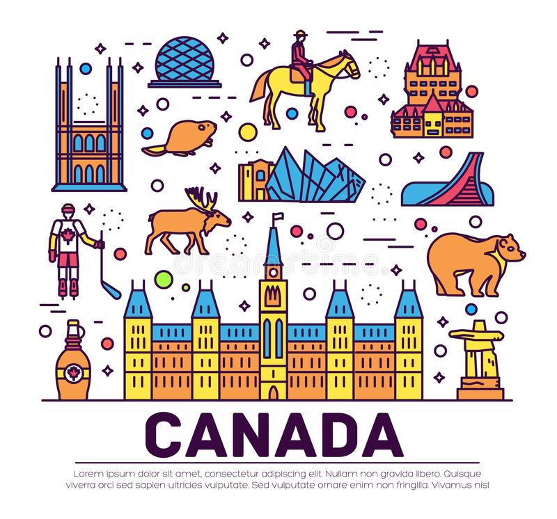 Vacances de voyage de Canada de pays infographic de l'endroit et de la caractéristique Ensemble d'architecture, mode, les gens, a illustration libre de droits