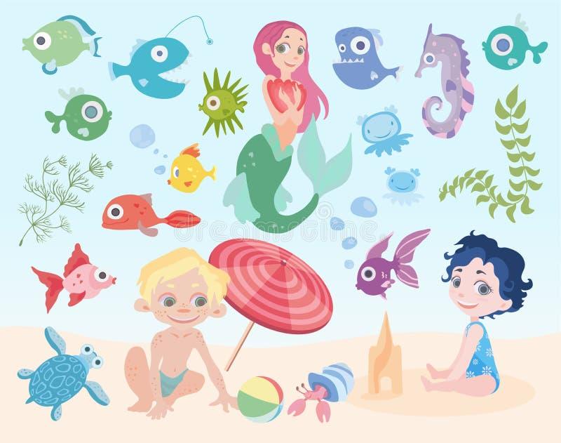 Vacances du ` s d'enfants en mer Dessin animé Garçon et fille jouant sur la plage Sirène, poissons et toute autre mer illustration de vecteur