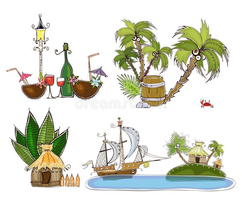 Vacances en île tropicale, milieux de concept illustration stock