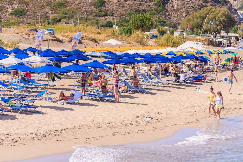 Vacances en mer La station de vacances de Faliraki rhodes image libre de droits