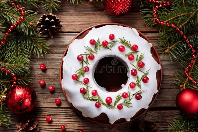 Vacances faites maison traditionnelles de gâteau de Noël photos stock