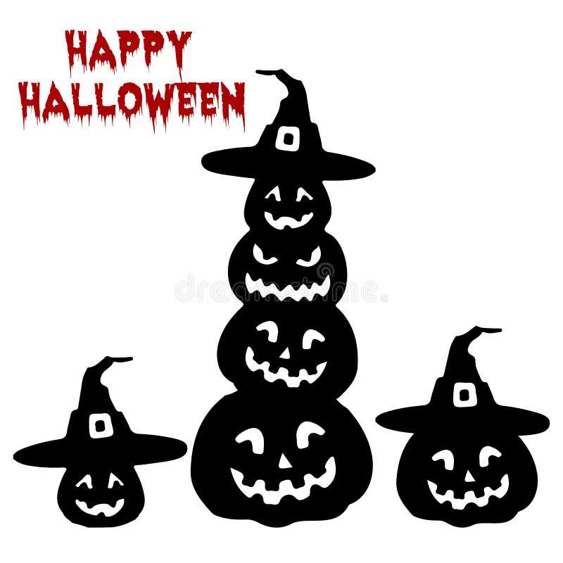 Vacances Halloween, collection de silhouette du potiron, bande dessinée sur W illustration stock