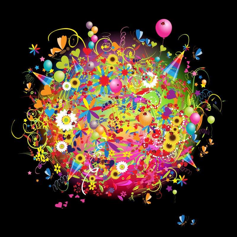 Vacances heureuses, carte drôle avec des baloons illustration de vecteur