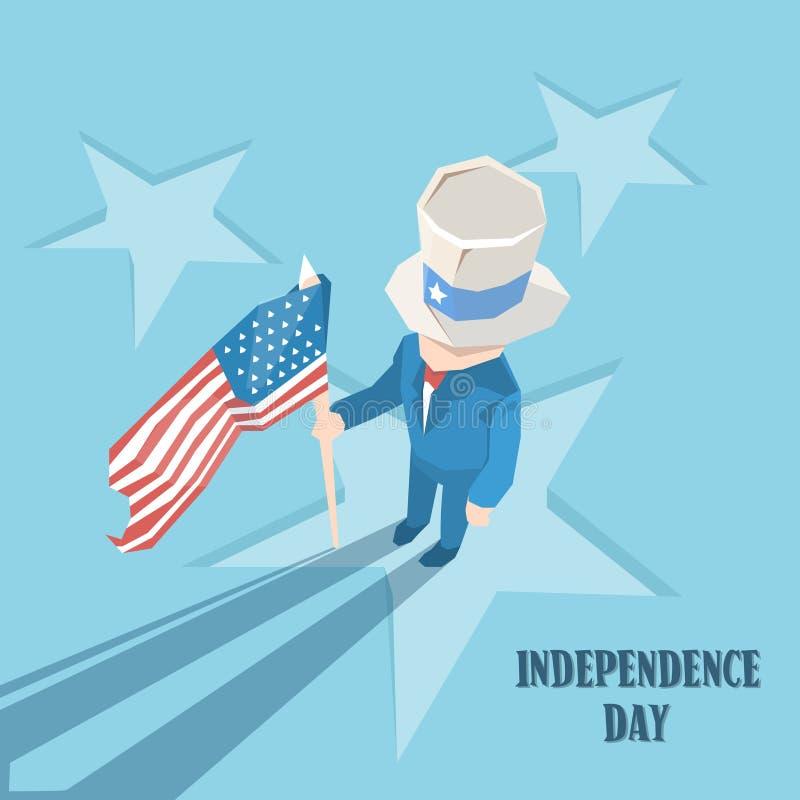 Vacances heureuses d'Américain de Jour de la Déclaration d'Indépendance d'oncle Sam Hold United States Flag illustration libre de droits
