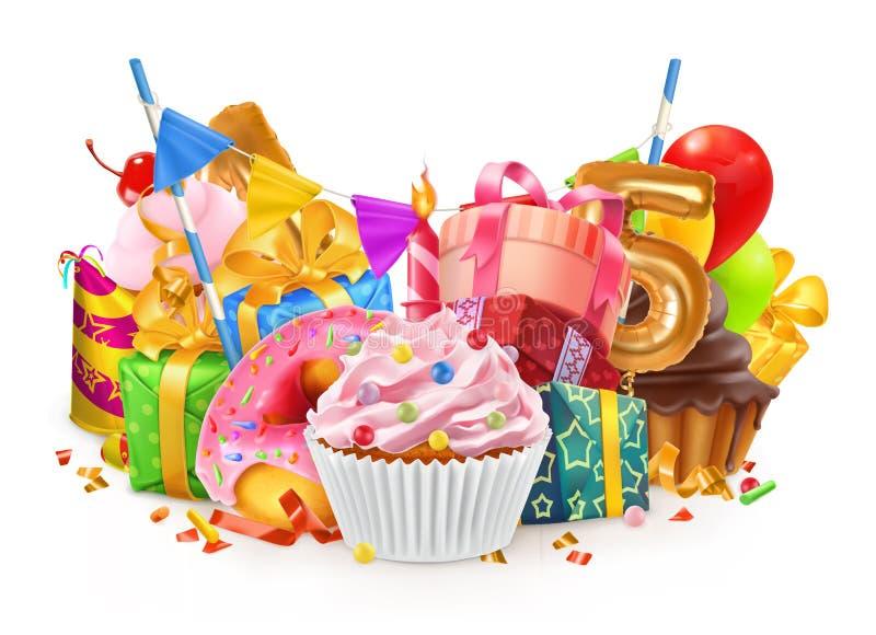 Vacances heureuses Petit gâteau, boîte-cadeau Illustration de vecteur illustration de vecteur