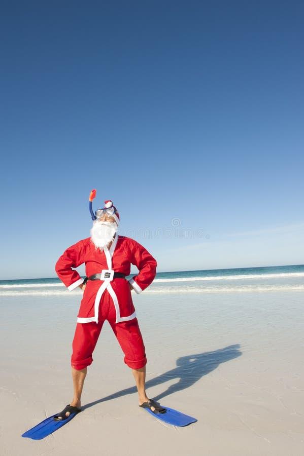 Vacances II de plage de Noël du père noël photo stock