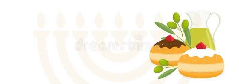 Vacances juives de Hanoucca, beignets de sufganiyot, cruche d'huile