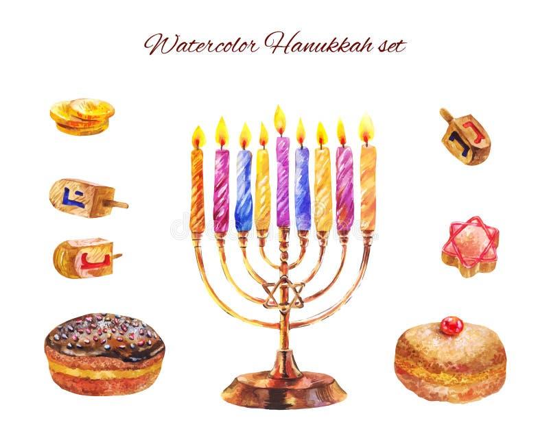Vacances juives Hanoucca avec le menorah et le sufganiyot Wate de vecteur illustration de vecteur