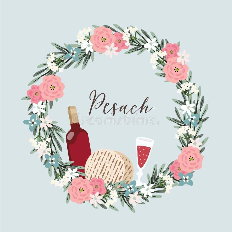 Vacances juives Pesach, carte de voeux de pâque Guirlande florale tirée par la main avec la bouteille de vin, verre, pain de pain illustration de vecteur