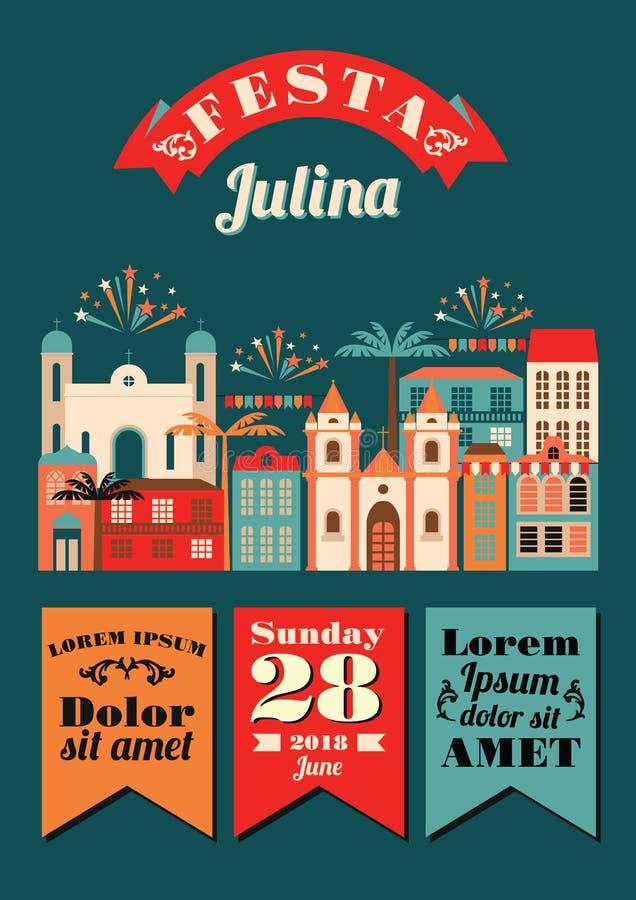 Vacances latino-américaines, la partie de juin du Brésil illustration de vecteur