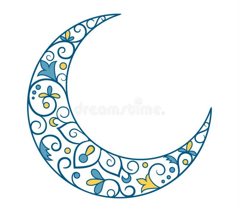 Vacances musulmanes Ramadan Kareem Crescent Moon Ornament Icon Sign I illustration de vecteur