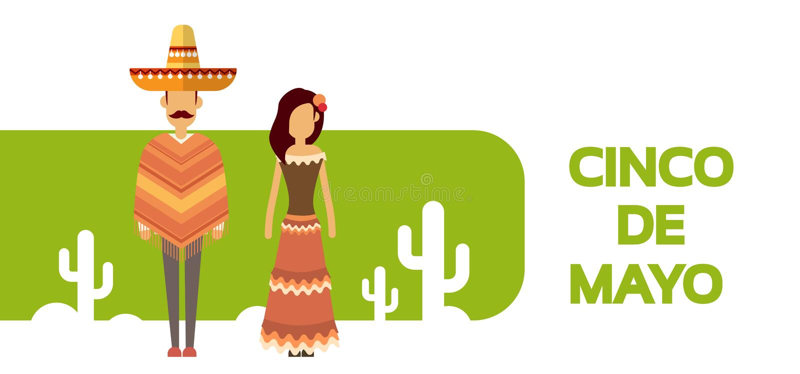 Vacances nationales Cinco De Mayo du Mexique de couples d'homme de femme d'usage de cactus traditionnel mexicain de vêtements illustration libre de droits