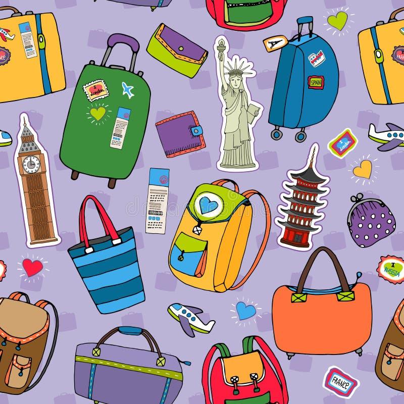 Vacances ou modèle sans couture de fond de voyage illustration stock