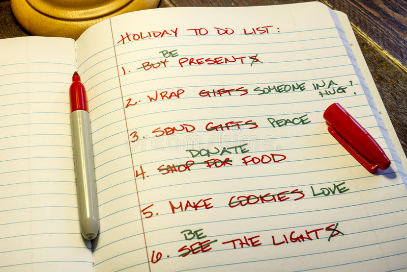 Vacances pour faire la liste photo stock