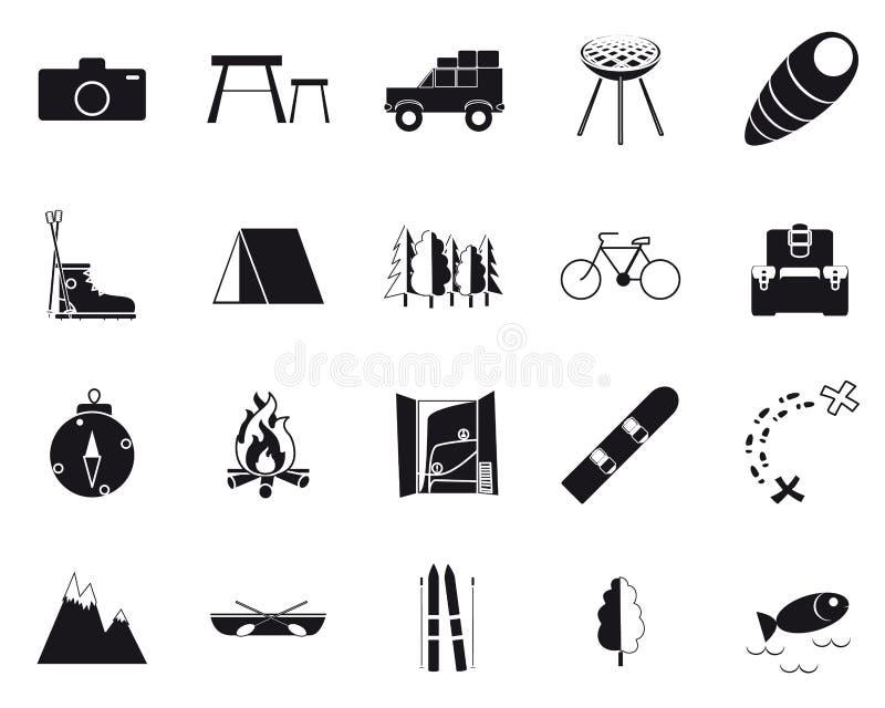 Vacances, récréation et voyage, icônes noires et blanches réglées illustration libre de droits