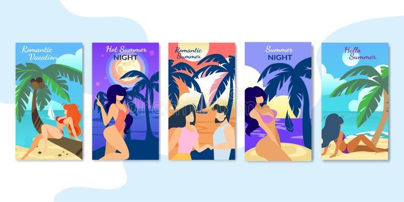 Vacances romantiques, bannières verticales de nuit d'été illustration libre de droits