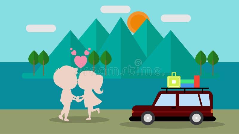 Vacances romantiques beaux homme et femme illustration libre de droits