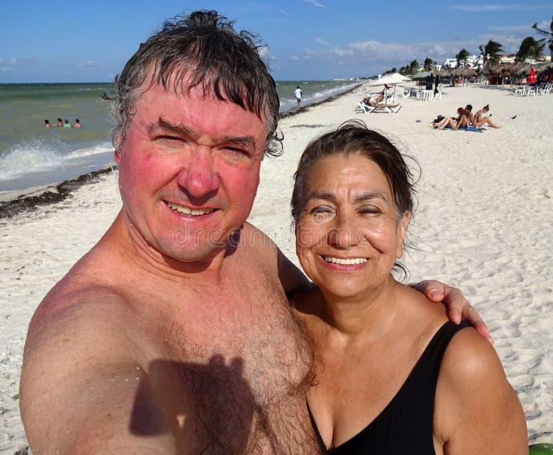 Vacances Selfie à la plage de Progreso dans Yucatan Mexique photos libres de droits