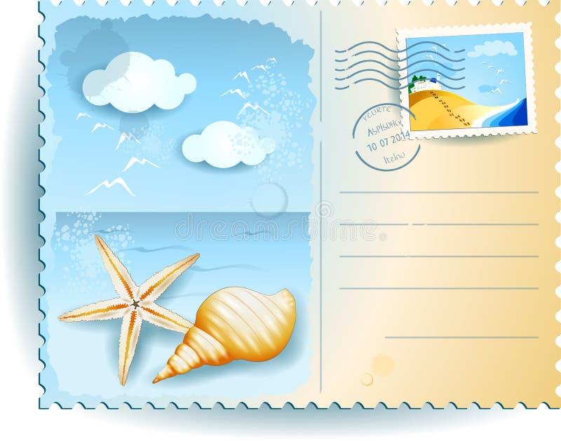Vacances Sur La Plage, Carte Postale Illustration de Vecteur - Illustration du postcard, grunge ...