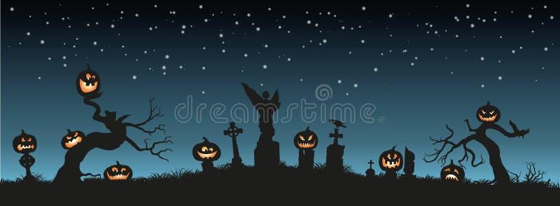 Vacances Veille de la toussaint Silhouettes noires des potirons sur le cimetière sur le ciel nocturne illustration de vecteur