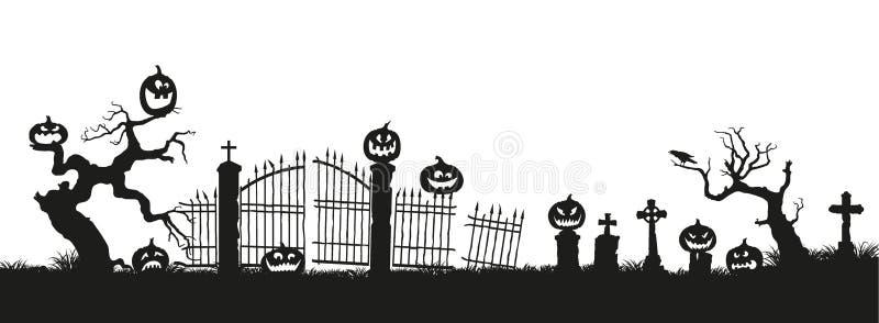 Vacances Veille de la toussaint Silhouettes noires des potirons sur le cimetière sur le fond blanc Cimetière et arbres cassés illustration libre de droits