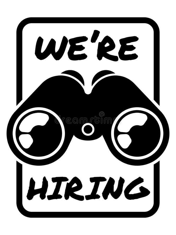 Vacancy announcement banner Job advertisement Open vacancy sign Search for employee vector illustration with binoculars2 stock photos