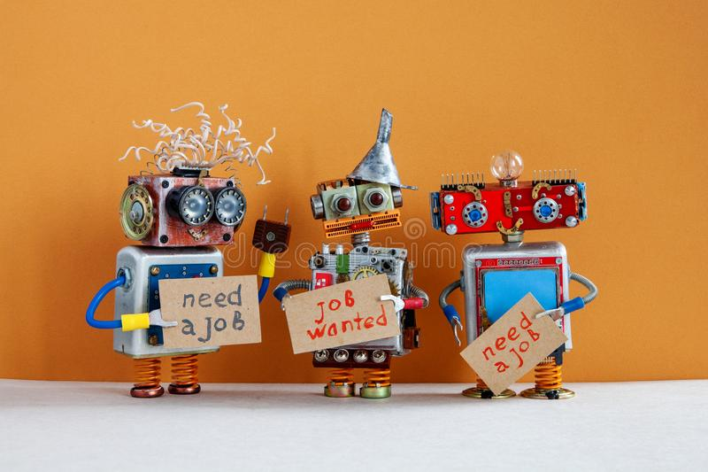 Vacancy search concept. Three robots wants to get a job. Unemployed robotic characters with a cardboard sign and stock images