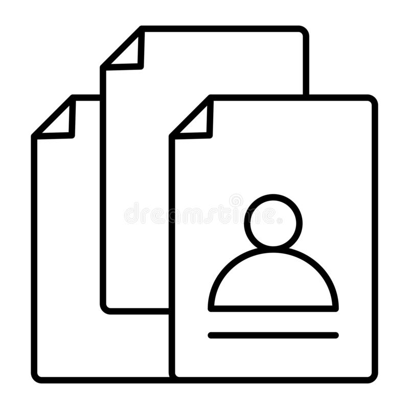 Vacancy search thin line icon. Hiring vector illustration isolated on white. Vacancy documents outline style design stock illustration