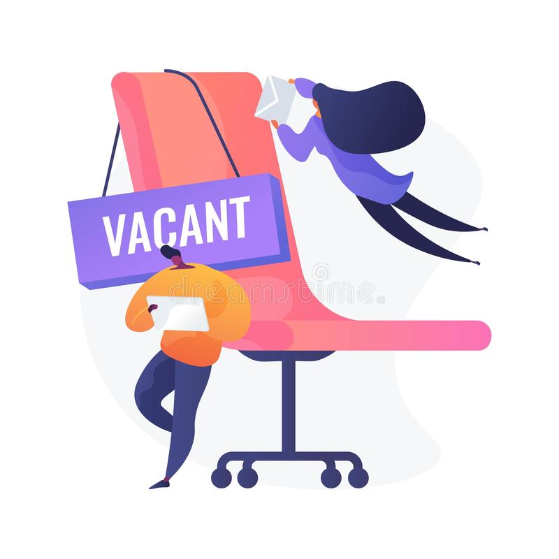 Vacant job vector concept metaphor. People applying for vacant job. Business competition, available vacancy advertisement, position application. Competing vector illustration