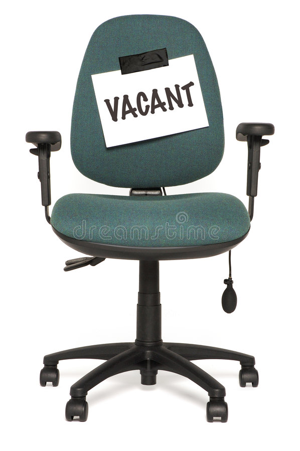 Vacant seat. Office chair with vacant sign stock photography
