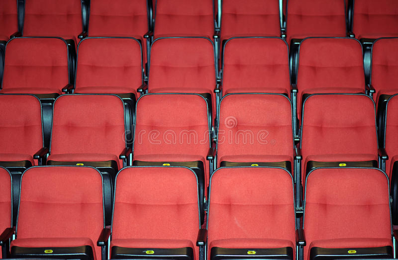 Vacant seats of a theater. SAO PAUL0, SP, BRAZIL - APRIL 11, 2015 - Vacant seats of a theater waiting for spectators royalty free stock photography