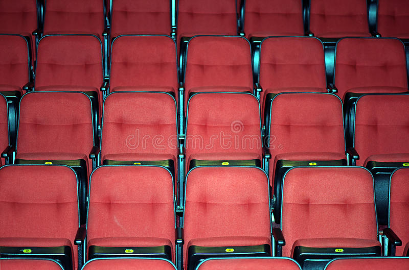 Vacant seats of a theater. SAO PAUL0, SP, BRAZIL - APRIL 11, 2015 - Vacant seats of a theater waiting for spectators stock photo