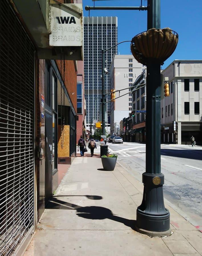 Vacant Storefronts and Sidewalk View, Downtown, Atlanta. Walkway, walking, street, urban, city, georgia, blue, sky, , sunny, pedestrian, pedestrians, stroll stock images