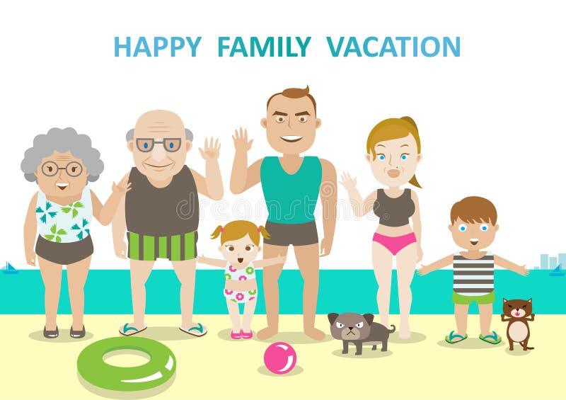 Vacanza del carattere della famiglia illustrazione di stock