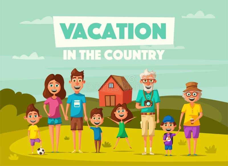 Vacanza del ` s della famiglia nella campagna Illustrazione di vettore del fumetto illustrazione di stock