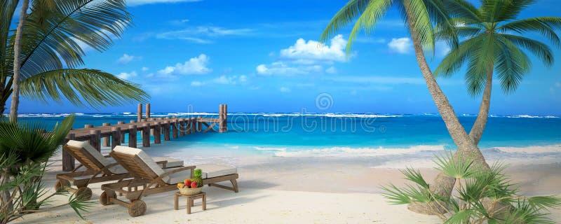 Vacanza della spiaggia delle coppie illustrazione vettoriale