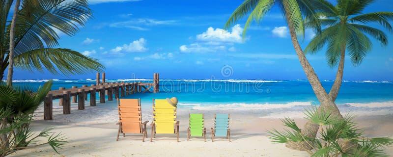 Vacanza della spiaggia della famiglia illustrazione di stock